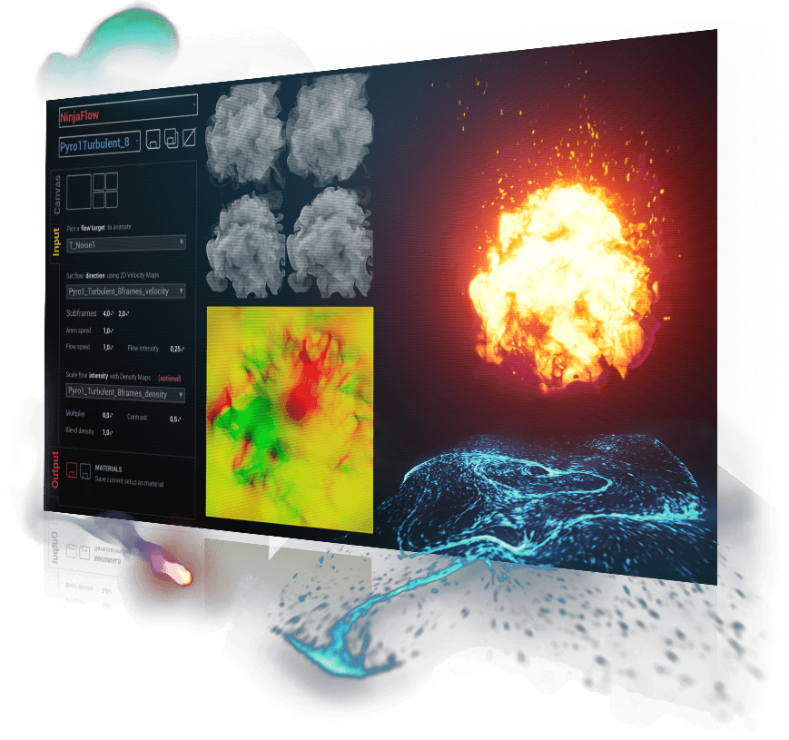 Visual effect examples for smoke, fire and fluids - created with FluidNinja VFX Tools in Unreal Engine